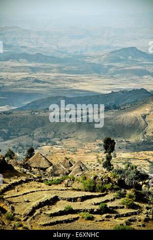 Landscape in the Ethiopian Highlands, Ethiopia, Africa - Stock Photo