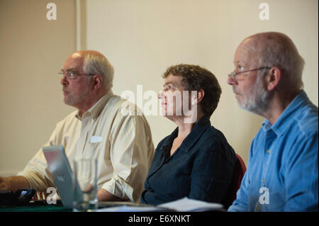 Newport, UK. 1st September 2014. Chaired by Kate Hudson (Chair of CND) - Joseph Gerson (L)(USA) & Dave Webb (R) - Stock Photo