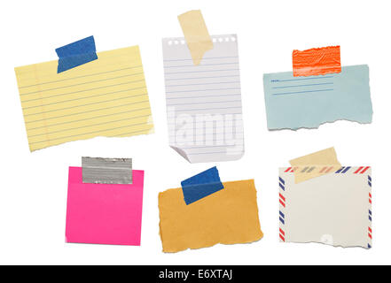 six different scraps of paper notes isolated on white background. - Stock Photo