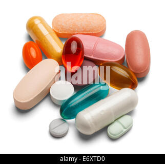 Different colored medicine and types of pills isolated on a white background. - Stock Photo
