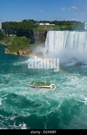 Hornblower Niagara Falls boat tour takes tourists on a trip close Horseshoe Falls on the Niagara River. Rainbow - Stock Photo