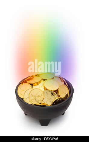 Black Pot of Gold with a Rainbow and Clover Coins Isolated on White Background. - Stock Photo