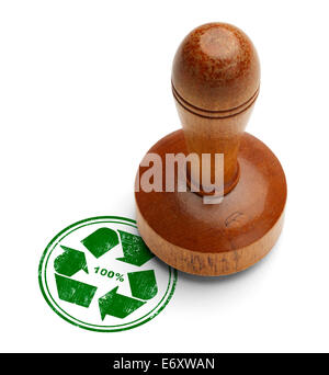 Green 100% recycle rubber stamp with wooden stamper Isolated on White Background. - Stock Photo