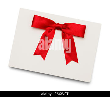 Card With Red Bow Isolated on White Background. - Stock Photo
