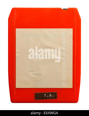Red Retro 8 Track Music Cassette Isolated on White Background. - Stock Photo