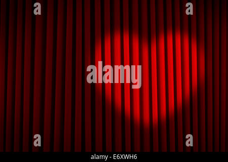 Red Velvet Stage Curtain with Heart Spotlight. - Stock Photo