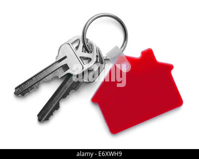 House keys with Red House Keychain Isolated on White Background. - Stock Photo