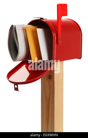 Mailbox with Letters and  Newspaper Isolated on White Background. - Stock Photo