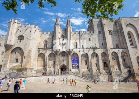 Palais des Papes, Palace of the Popes in Avignon, Provence, France - Stock Photo