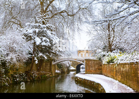 Winter view of the Kennet and Avon Canal in Sydney Gardens, Bath, England, UK - Stock Photo