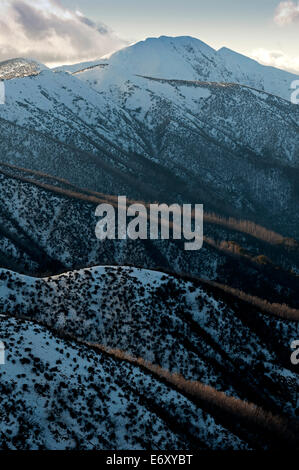 View from Great Alpine Road to Mt. Feathertop, Alpine National Park, Victoria, Australia - Stock Photo