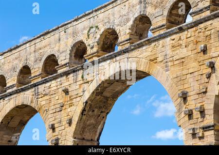 Pont du Gard Roman aqueduct, Gard, Languedoc, France - Stock Photo