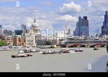 London skyline looking East from Waterloo Bridge. - Stock Photo