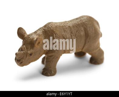 Plastic Toy Grey Rhinoceros Isolated on White Background. - Stock Photo