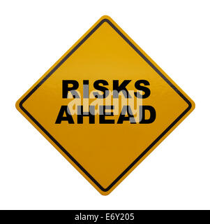 Caution Sign that read Risks Ahead Isolated on White Background. - Stock Photo