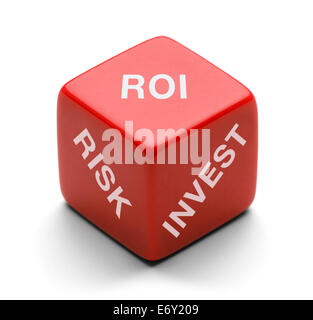Red Dice with Risk, Invest and ROI on it Isolated on White Background. - Stock Photo