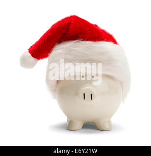 Piggy Bank With Red Santa Hat Isolated on White Background. - Stock Photo