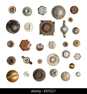 Metal, Wood and Drywall Screws and Bolts  Isolated on White Background. - Stock Photo