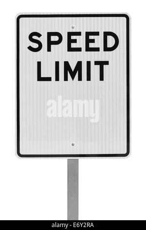 Blank Speed Limit Sign on Metal Pole Isolated on White Background. - Stock Photo