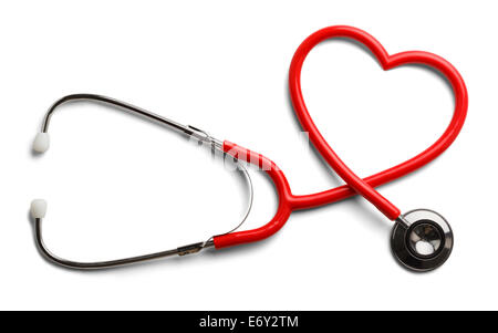 Red Stethoscope in Shape of Heart Isolated On White Background. - Stock Photo