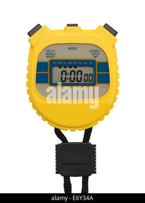 Yellow Plastic Stopwatch with Copy space Isolated on White Background. - Stock Photo