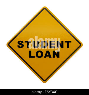 Yellow sign with Student Loan on it Isolated on White Background. - Stock Photo