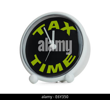 Clock with Tax Time in Green on it. Isolated on White Background. - Stock Photo