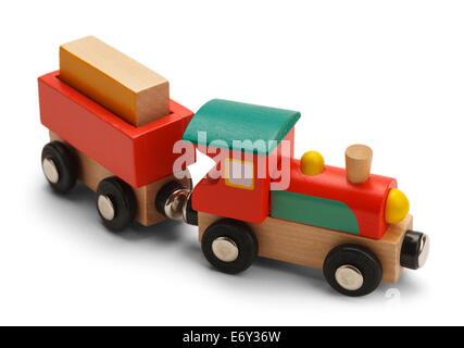 Wood Toy Train Isolated on White Background. - Stock Photo