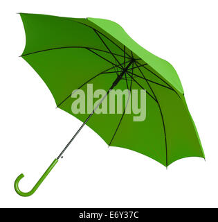Bright Green Umbrella Tilted Isolated on White Background.
