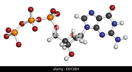 Deoxyguanosine triphosphate (dGTP) nucleotide molecule. DNA building block. Atoms are represented as spheres with - Stock Photo