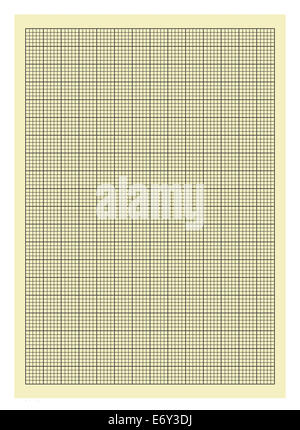 Yellow and Black Lined Graph Paper Isolated on White Background. - Stock Photo