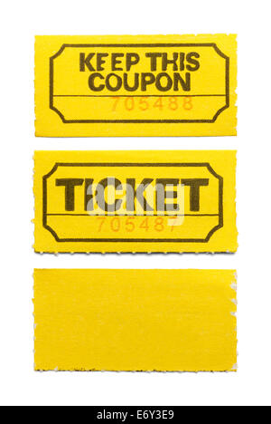 Yellow Ticket and Coupon Isolated on White Background. - Stock Photo