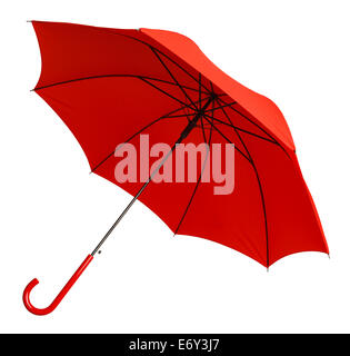 Bright Red Umbrella Tilted Isolated on White Background. - Stock Photo