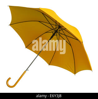 Bright Yellow Umbrella Tilted Isolated on White Background. - Stock Photo