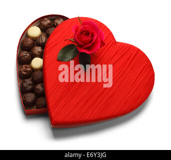 Red Heart Box of Chocolates with Rose Isolated on White Background. - Stock Photo