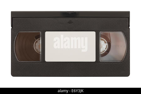 Old VHS Video Tape with Copy Space Isolated on White Background. - Stock Photo