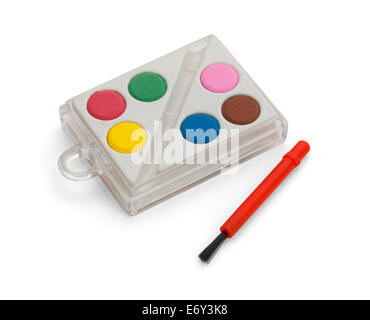 Plastic set of paints with red brush. Isolated on White Background. - Stock Photo