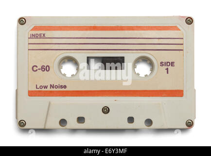 Old Cassette With Copy Space Isolated on White Background. - Stock Photo