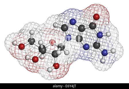 Guanosine purine nucleoside molecule. Important component of GTP, GDP, cGMP, GMP and RNA. Atoms are represented - Stock Photo