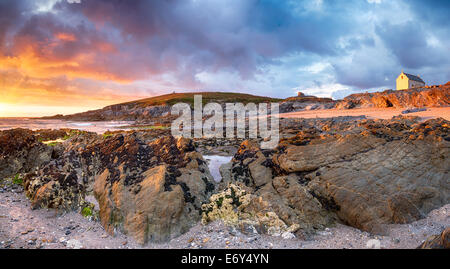 Sunset on the Towan Headland at Fistral Beach in Newquay - Stock Photo