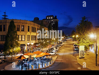 Asheville, North Carolina. Grove arcade at night. - Stock Photo