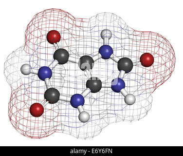 Uric acid molecule. High blood levels lead to gout disease. Atoms are represented as spheres with conventional color - Stock Photo