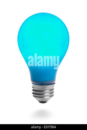 Lit Blue Light Bulb Isolated on White Background. - Stock Photo