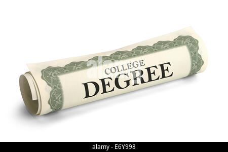 Rolled up College Diploma Scroll Isolated on White Background. - Stock Photo