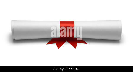 Diploma with Red Ribbon Front View Isolated on White Background. - Stock Photo