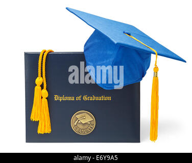 Diploma of Graduation with Blue Mortar Board and Honor Cords Isolated on White Background. - Stock Photo