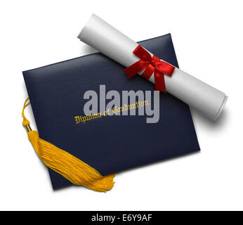 Blue Diploma of Graduation Cover with Degree Scroll and Tassel Isolated on White Background. - Stock Photo