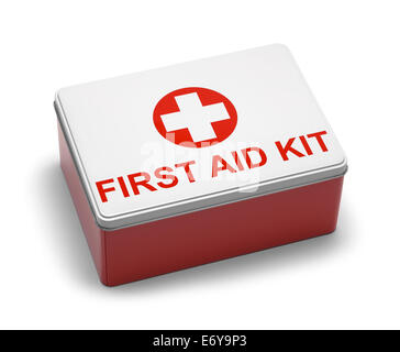 Red and White Metal First Aid Kit Box. Isolated on White Background. - Stock Photo