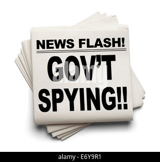 News Flash Gov't Spying News Paper Isolated on White Background. - Stock Photo