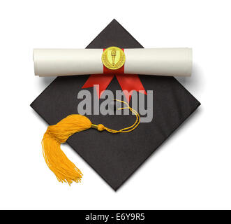 Black Graduation Hat with Gold Tassel and Diploma Isolated on White Background. - Stock Photo